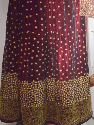 Mehroon velvet lehanga with beads work