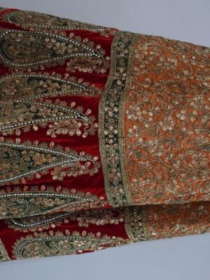 Red & Peach heavy lehenga with blouse & heavy dupatta