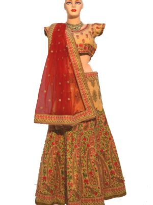 Golden and red velvet beautiful  lehenga