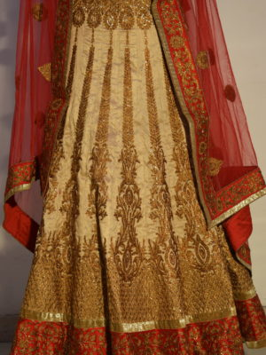 Designer Golden & Red Lehenga with beautiful work